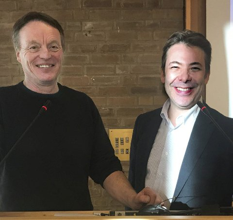 OPTIMISTER: Både Jørn Stensvold (t.v.) og Steffen Møller-Holst har stor tro på hydrogenprosjektet i Berlevåg.
