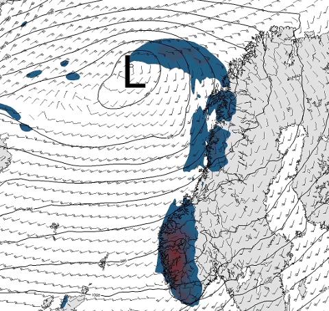 Her er et kartet for vind og nedbør lørdag klokken 18.00, utarbeidet av StormGeo..