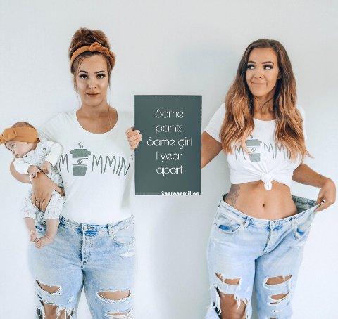 Har gått ned 30 kilo: Sara Emilie Tandberg (27) fra Nittedal bestemte seg for å bruke instagram til å dele den sanne siden av det å være mamma, og snakker høyt om strekkermerker, vektøkning og alle de vanskelige tingene rundt morsrollen. Foto: Privat