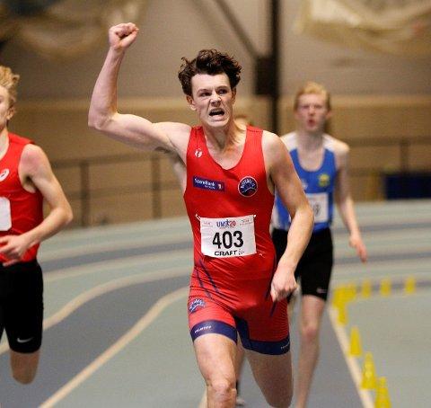 NM-GULL: Sebastian Plows (19) vant 400 meteren i U-20 klassen under årets junior NM fredag.