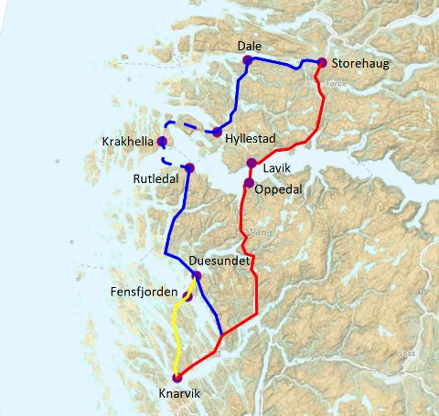 Her er ei skisse av dagens trasé (raudt), og to alternative traséar til kyststamvegen (blått og gult).