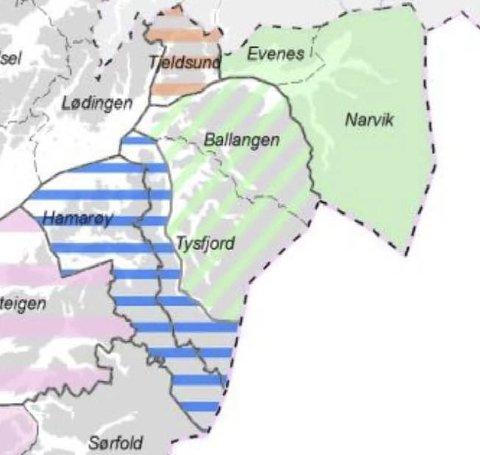 FORSLAGET: Her er Evenes og Narvik slått sammen. I tillegg anbefales Ballangen og halve Tysfjord inn i storkommunen. Ill.: Fylkesmannen