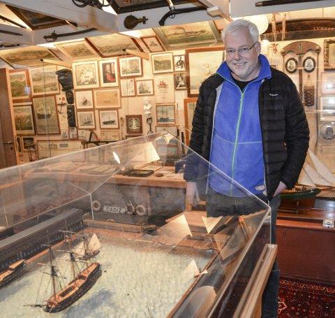 Historisk samling: Lindgard skuteminne er en rikholdig og unik sjøfartssamling. Jan Marcussen har i mange år drømt om at samlingen skal bli stilt ut i flotte lokaler som er lett tilgjengelige.