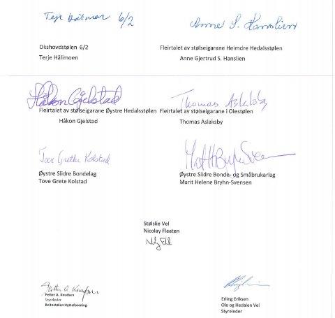 Signert brev: I eit åtte siders langt brev til politikarane har stølseigarar frå Okshovdstølen, Heimre Hedalsstølen, Øystre Hedalsstølen, Olestølen, saman med Øystre Slidre Bondelag, Øystre Slidre Bonde- og Småbrukarlag, Stølslie Vel, Beitostølen Hytteforening og Ole og Hedalen Vel, skrive under brevet.