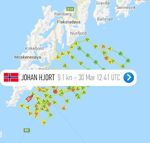 """SKREITOKT: Årets skreitokt er i gang. Mandag ettermiddag var """"Johan Hjort"""" utenfor Moskenes."""
