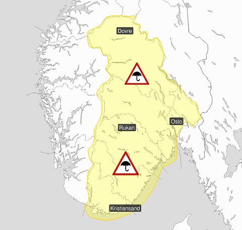 FAREVARSEL: Meteorologisk institutt varsler fare for jordskred og flom i forbindelse med de store nedbørsmengdene som er ventet fra lørdag.