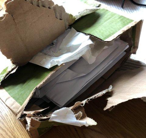 BRUTT OPP: Innholdet i pakken til Anita Bjerke var borte. I stedet var det stappet inn en rekke brev og pakker fra andre postkasser.