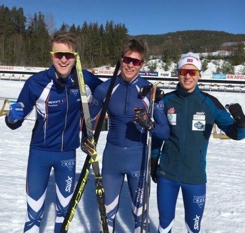 NM-KLARE:  Fra venstre Erik Kjenne Støa, Andreas Kirkeng og Sander Teisbekk.