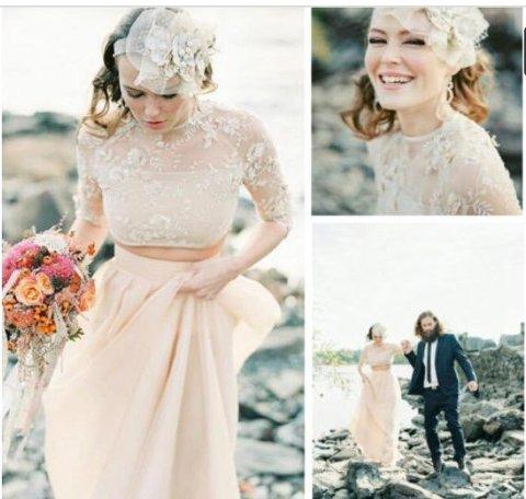 STJÅLET: Dette bildet, som viser en brudekjole tegnet av Sarpsborg-designeren Lise-Marie Heines Enoksen, er stjålet og har nå dukket opp i en salgsannonse for en forfalskning av nevnte kjole på eBay.