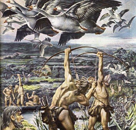 Eldorado: Selv om fjordfolket i Indre Østfold hentet det meste av maten fra sjøen, har tegneren trolig fått med seg hvilket eldorado det må ha vært ved Glommafjorden.Kilde: Recension - Mesolithic Europe; Chihaus.wordpress