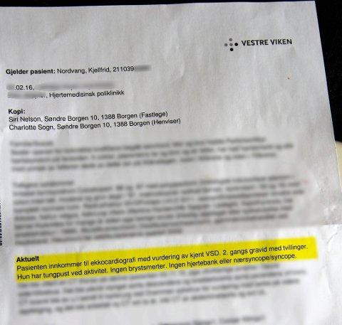 BREVET: Kjellfrid Nordvang måtte lese tredje avsnitt av brevet ( i gult) fra Vestre Viken flere ganger før hun forsto hva som sto der.