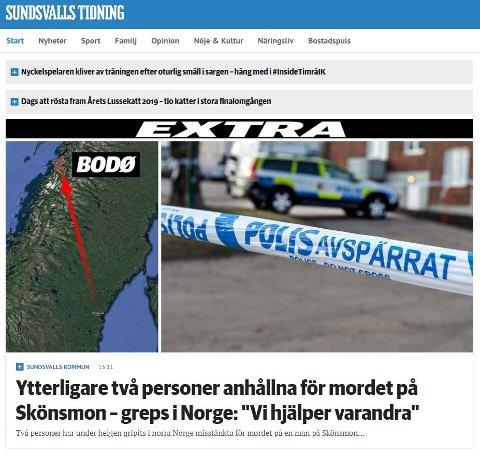To menn er pågrepet for et drap i Sverige, utført tidlig i november. Faksimile: Sundsvalls Tidning