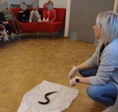 SLIMETE: Barne- og ungdomsarbeider, Eva Jeanette Gustavsen viser frem det uvanlige funnet. Det slimete vesenet ble funnet utenfor Aski barnehage på Karmøy.