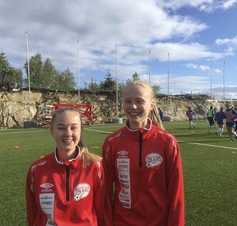 Til Grand: Vilde  Amalie Nilsen (tv) og Sarah Bendiksen er to av jentene som skal på treningssamling hos Grand i Bodø denne helga. Foto: bjørnar Larsen