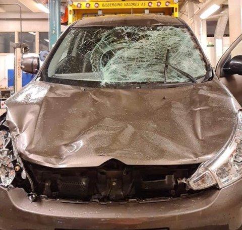 ELG: Både Rune Syversen og hans kjæreste kom uskadet fra kollisjonen med elgen. Bilen fikk omfattende skader.