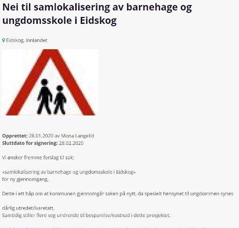 AKSJON PÅ NETT: I løpet av et snaut døgn fikk underskriftsaksjonen «Nei til samlokalisering Eidskog ungdomsskole og Skotterud barnehage» mange nok signaturer til at kommunestyret må behandle saken på nytt.