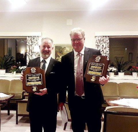 Utmerkelser: Fra venstre: Morten Nordmo og Odd A. Frydenberg. De ble ble overrakt LIONS høyeste utmerkelse, Melvin Jones Award. Foto: LIONS CLUB Holmestrand