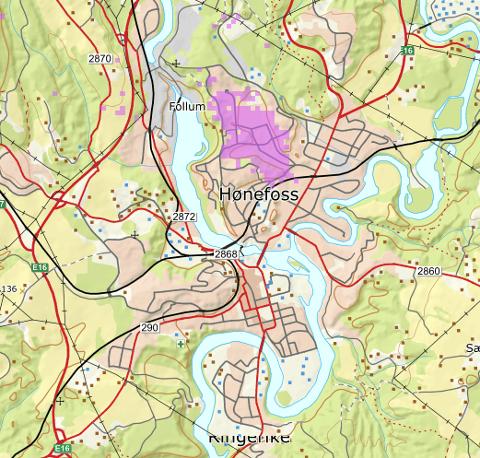 I HØNEFOSS: Kartet viser den nye dekningen i lilla.