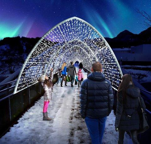 SPEKTAKULÆRT: Slik vil lysene skinne over Kvina. Illustrasjon og design av MK Illumination.