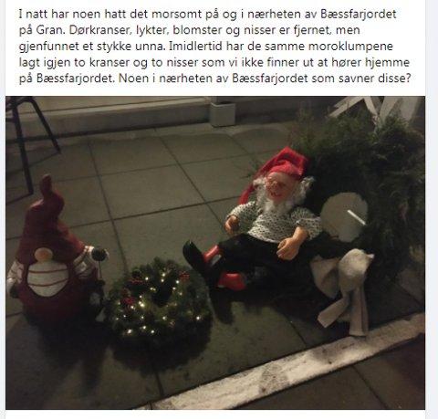 NISSESTREKER?: Denne julepynten havnet på trammen til Elin på Bæssfarjordet. Eier tok raskt kontakt og pynten har kommet hjem.