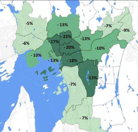 TRAFIKKREDUKSJON: Kartet viser hvor mye trafikken i følge beregningene vil gå ned i ulike deler av Oslo. (Virkninger av revidert avtale Oslopakke 3).