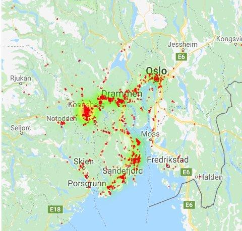 MANGE UTENBYS FRA: Det er langt ifra bare kongsbergfolk som besøker Kongsberg skisenter.