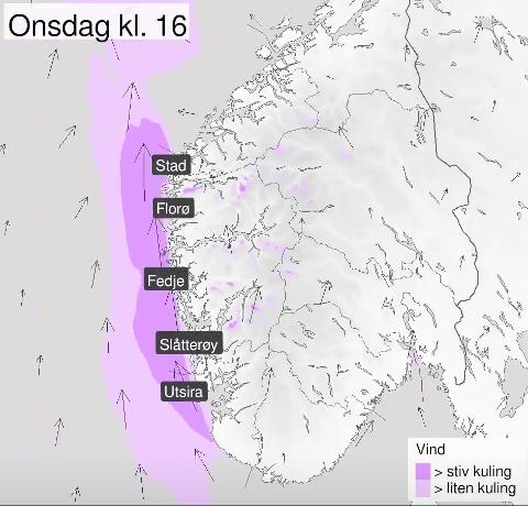 Meteorologisk institutt sendte ut dette vindvarselet onsdag morgen.