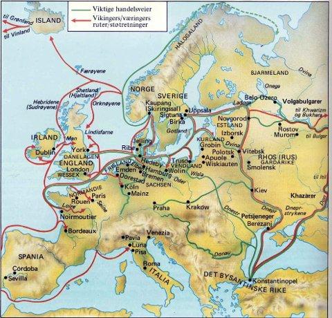 På dette historiske kartet over vikingtidens Europa nevnes Kaupang – eller Skiringssal – som det eneste norske stednavn. Men slik Vestfold fylke  framstiller seg selv og sin vikingtid er det nå  bare Borre og Tønsberg som teller. Og hva betyr det for historieturismen i Larvik?