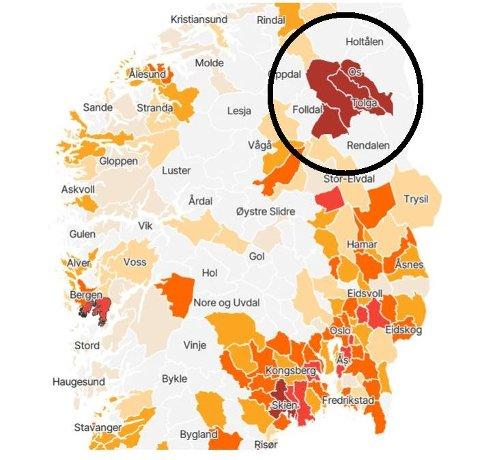 BLODRØDT: Ingen andre kommuner i landet har høyere smittetrykk per innbygger enn Nord-Østerdal de siste 14 dagene. Skjermdump: VGs koronakart