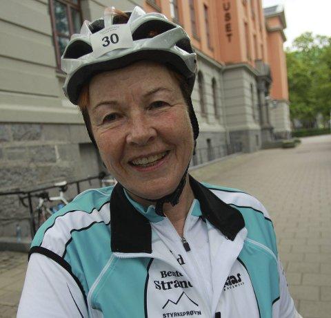MILEPÆL: Bente Strand har fullført Den store Styrkeprøven hele 30 ganger. Tofte-damen har lyst på flere starter mellom Trondheim og Oslo.