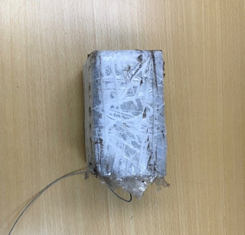 SKAPTE BOMBEFRYKT: Denne gjenstanden, en hjemmelaget rytmeboks, var det som forårsaket full alarm på Torget i Horten.