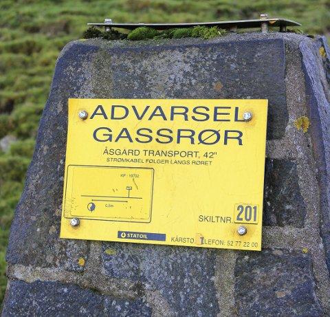 PASS PÅ: Merke ved gassrørledningen.