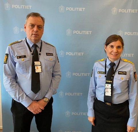 FÅ VIL BLI LEDERE: Politimester Ellen Katrine Hætta og påtaleleder Morten Daae i forbindelse med årsmeldingen 2020