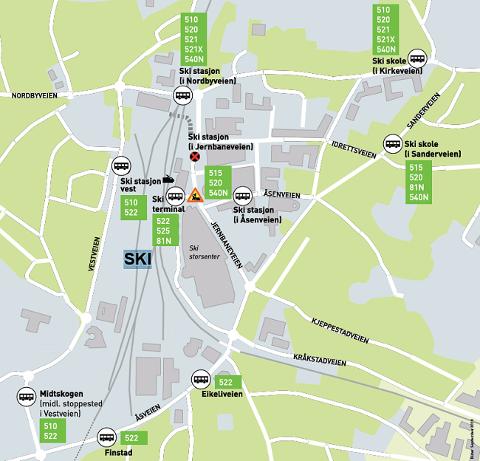 MIDLERTIDIG: Dette kartet viser de midlertidige holdeplassene for busser i september.