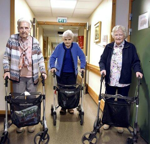 SAMMEN IGJEN: Søstrene Eli Øverby (snart 94), (fra venstre) Åse Grafsrønningen (89) og Astrid Nystuen (96) bor nå på Sætre alderhjem, og går ofte i gangene for å komme på besøk til hverandre.- Det er trivelig å samles igjen på sine godt voksne dager, synes de.