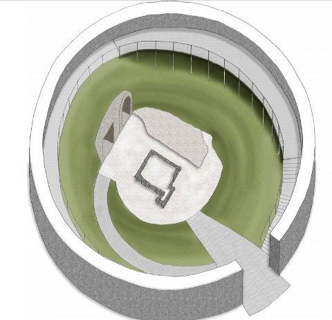 SLIK KAN DET BLI: Dette er forslaget som trolig vil bli vedtatt av politikerne: Et åpent Isegran-tårn med gangbane og trapp mellom bakken og en bredere utsiktsplattform oppe ved murkronen. Det foreslås også belysning langs hele gangbanen.