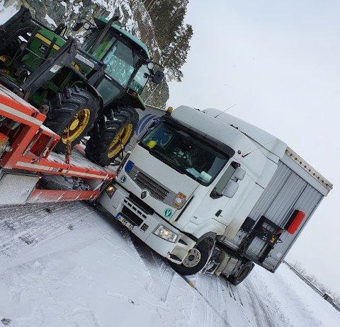 Yrkessjåfør Vegard Rogne fryktet det kunne gå ordentlig galt da det utenlandske vogntoget kom i stor fart på glatt vinterføre over Dovrefjell.