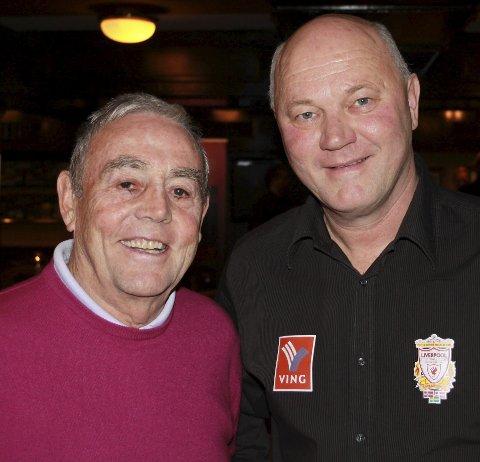 Møtt mange: Bergheim er her med Ian St.John - en tidligere Liverpoolspiller.