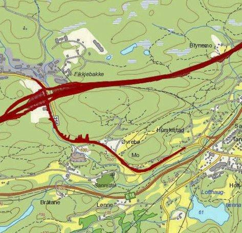Dette er veikorridoren over Fikkjebakke som Nye Veier anbefaler.  På strekningen mellom Dørda,l ved kommunegrensa mot Kragerø, og Tvedestrand vil det komme tre bomstasjoner.