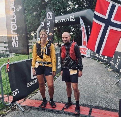 I MÅL: Gro Siljan hjukse og Thomas Øderud ble nummer fire i ultraløpet fra Oslo til Bergen. 182 timer brukte de. FOTO: ARRANGØRENE