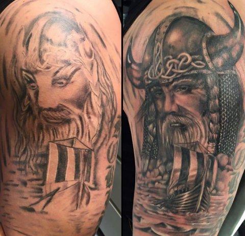 IKKE HELT VELLYKKET: På bildet til venstre kan du se hvordan tatoveringen så ut etter at mannen hadde tatt den i Tyrkia. Det er ingen tvil om at vikingen har fått et realt ansiktsløft på bildet til høyre.