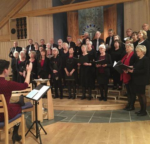 Låvekoret: I 20 år har de holdt på. Under lysmessen delte de vakker sang ledet av dirigent Marianne Tovsrud Knutsen.