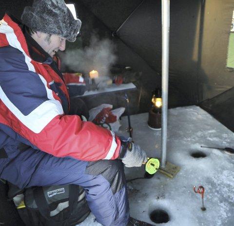I full gang: Bjørn Erik Gyberg har så langt i år landet 700 småfisk på Møsvann.(.Alle foto: Asbjørn s. Torgersen).