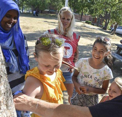 Premie: Sahra Hagi (f.v.) og Silje Brokke (bak) ser på at Elise Ø. Godal, Tara S. Djahromi og Johanne Ø. Godal får premiene. Smedstad.