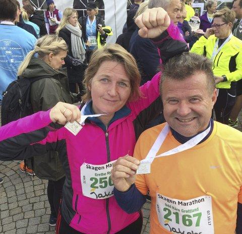Skagen-medaljen sikret: Odd Kåre Grøttland og Grethe Nygaard løp sammen med resten av Kristtornvegen Laggers 2017.