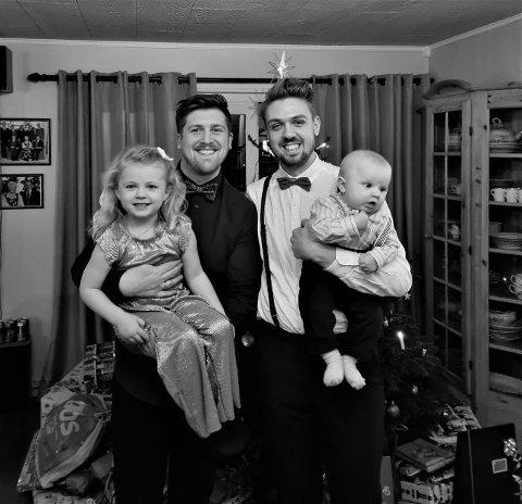 FAMILIE: Magnus Landaas Skjervold (32 år) og mannen Torstein Landaas Skjervold (28 år) gleder seg til Pride en dag blir arrangert i Lillestrøm, hvor ekteparet bor. Her sammen med datteren Ylva (4) og sønnen Eilev (8 måneder).