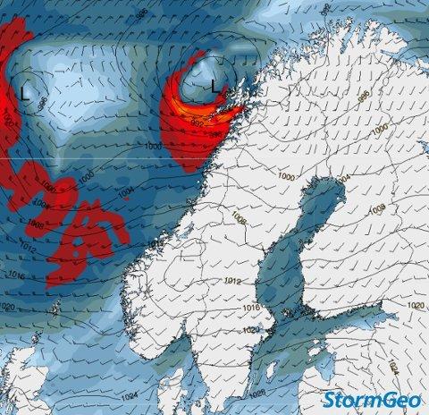 KRAFTIGE VINDKAST: Slik vil stormen treffe landsdelen tirsdag. Illustrasjon: StormGeo