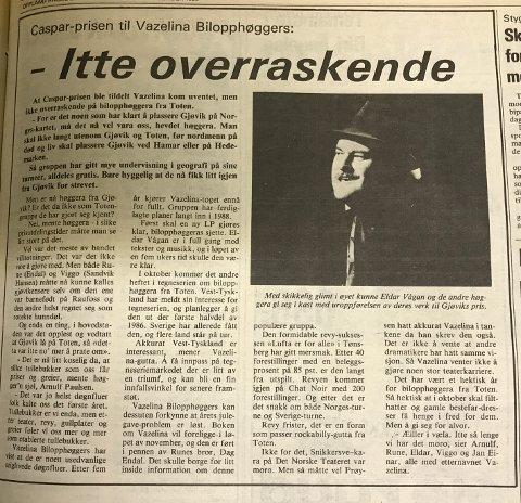 GLIMT I ØYET: Eldar Vågan var fornøyd da Vazelina Bilopphøggers fikk Casparprisen i 1985.