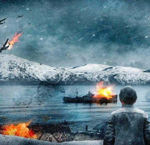 """Mange gutter fra Rjukan kjempet i Narvik 1940 - en av dem var Odd G. Larsen. Han overlevde så vidt torpederingen av  panserskipet """"Norge"""". Nå skal scener til den nye dramafilmen """"Narvik"""" spilles inn på Rjukan. Illustrasjon fra filmen som starter innspillingen i Narvik og Rjukan i februar 2020."""