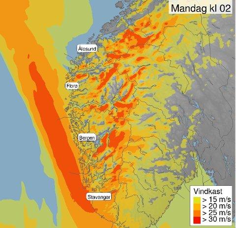 Pass på! Det blir sterke vindkast på #Vestlandet søndag kveld og natt til måndag. Sjå OBSvarsel på yr.no